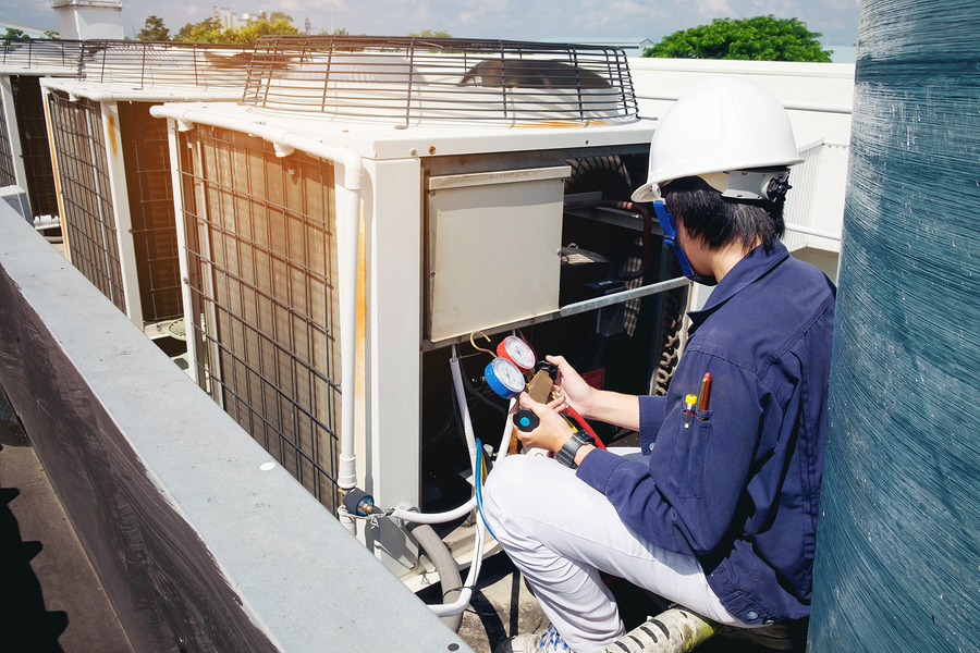HVAC technician doing commercial services