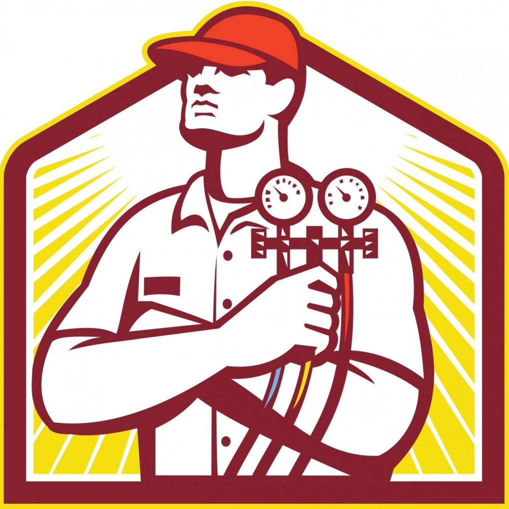 HVAC services technician logo